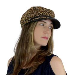Women's Newsboy Cap PU Brim Beige Leopard