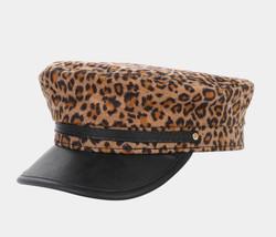 Women's Newsboy Cap PU Brim Khaki Leopard