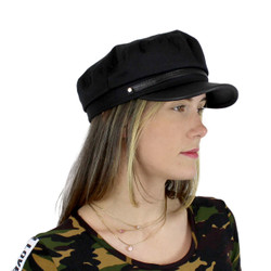 Women's Newsboy Cap PU Brim Solid Black