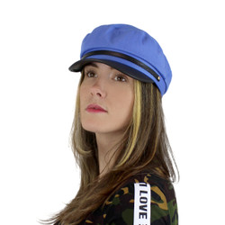 Women's Newsboy Cap PU Brim Blue