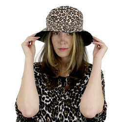 Leopard Print Bucket Hat for Women Reversable Two Toned