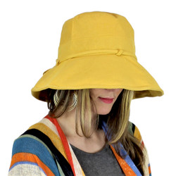 Wired Cotton UV Hat for Women Mustard