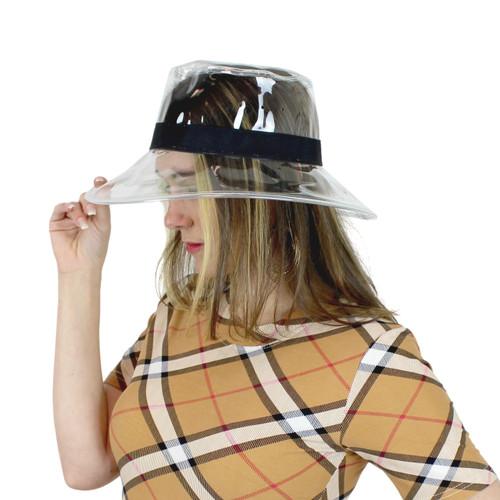 Clear PVC Bucket Hat Vinyl Rain Hat Black Band