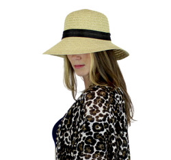 Fan Shaped Bucket Straw Hat with Large Bow Beige