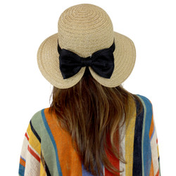 Fan Shaped Bucket Straw Hat with Large Bow Khaki