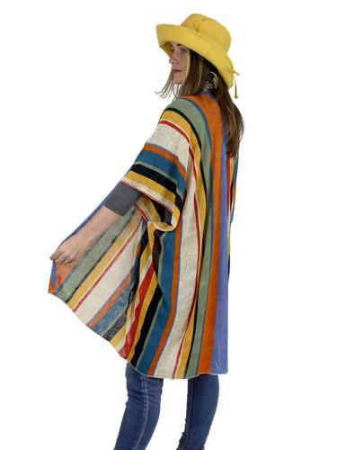 Rainbow Print Short Sleeve Kimono