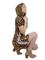 Leopard Print Short Sleeve Hoodie Dress Love Striped M-L