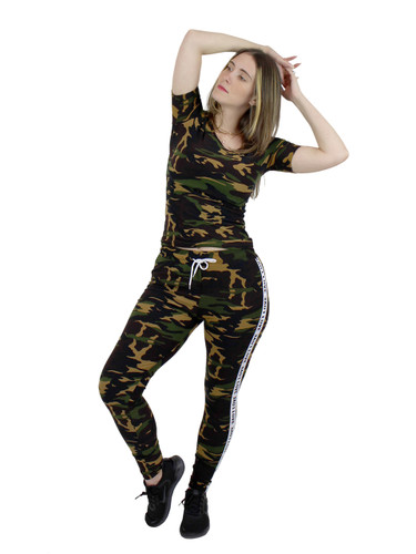 Camouflage Print Short Sleeves Leggings Set Love Striped XS-S