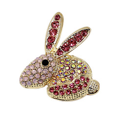 Easter Bunny Brooch Pink Crystals