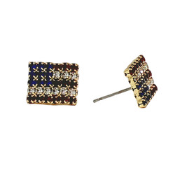 American Flag Stud Earrings with 30 Pc of Rhinestones