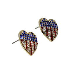 Patriotic Heart Earrings with Crystals Gold Tone