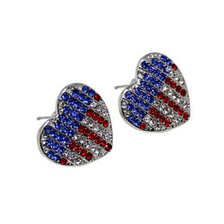 Patriotic Heart Earrings with Crystals Silver Tone