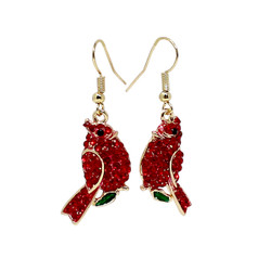Red Cardinal Crystals Earrings