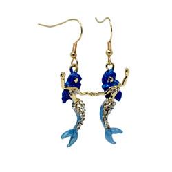 Mermaid Earrings with Crystals Aqua