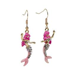 Mermaid Earrings with Crystals Pink
