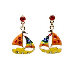 Sailboat Earrings Nautical Orange and Yellow