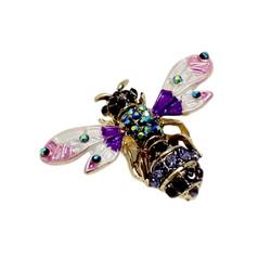Crystal Bee Brooch Pin or Pendant Dual Use Purple