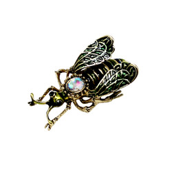 Vintage Bee Brooch Pin Olive Green