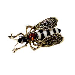 Vintage Bee Brooch Pin Black and White