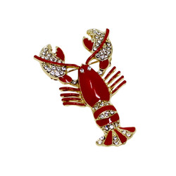 Red Lobster Brooch Pin Crystals Gold Tone