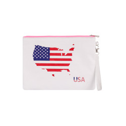 Large Padded Makeup Bag Wristlet Envelope USA Map