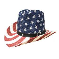 American Flag Cowboy Straw Hat White