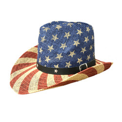 American Flag Cowboy Straw Hat Old Glory