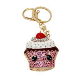 Cherry Cupcake Emoji Keychain Pink