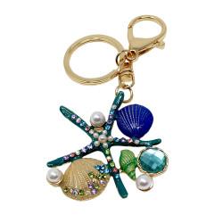 Starfish Shell Pearls Keychain with Rhinestones Turquoise