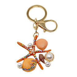 Starfish Shell Pearls Keychain with Rhinestones Coral