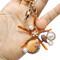 Starfish Shell Pearls Keychain with Rhinestones Coral