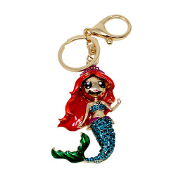 Mermaid Keychain Rhinestones Red