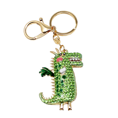 Crystal Crocodile Keychain Green