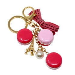 French Macarons Eiffel Tower Keychain Pink Purse Charm