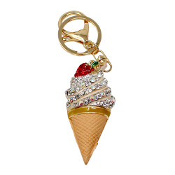 Ice Cream Cone Rhinestone Purse Charm Clear
