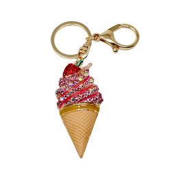 Ice Cream Cone Rhinestone Purse Charm Pink