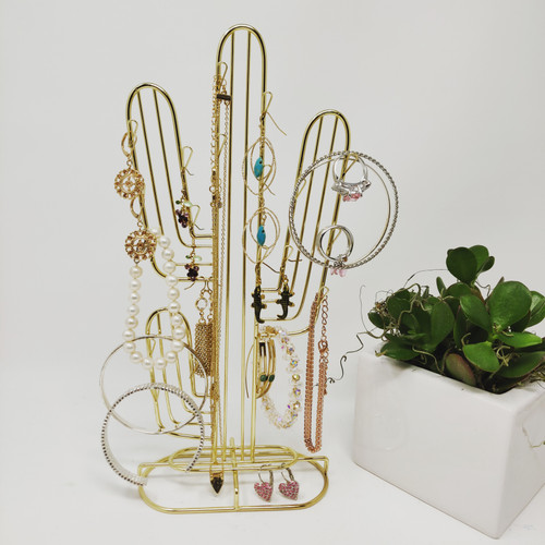 gold cactus jewelry stand holder