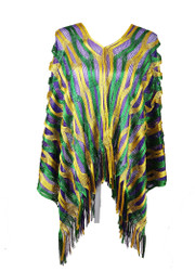 Mardi Gras Sparkling Fishnet Poncho Purple Gold Green