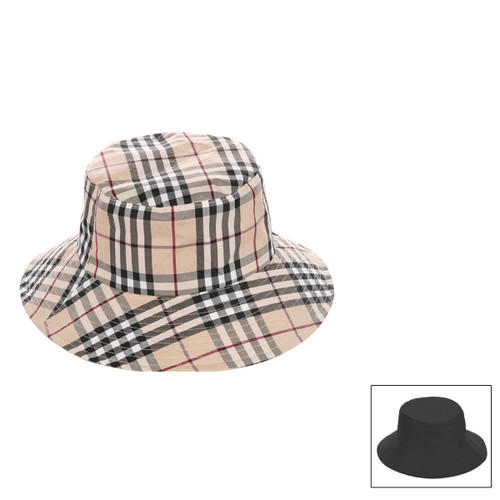 Haymarket Print Bucket Hat for Women Reversable Two Toned
