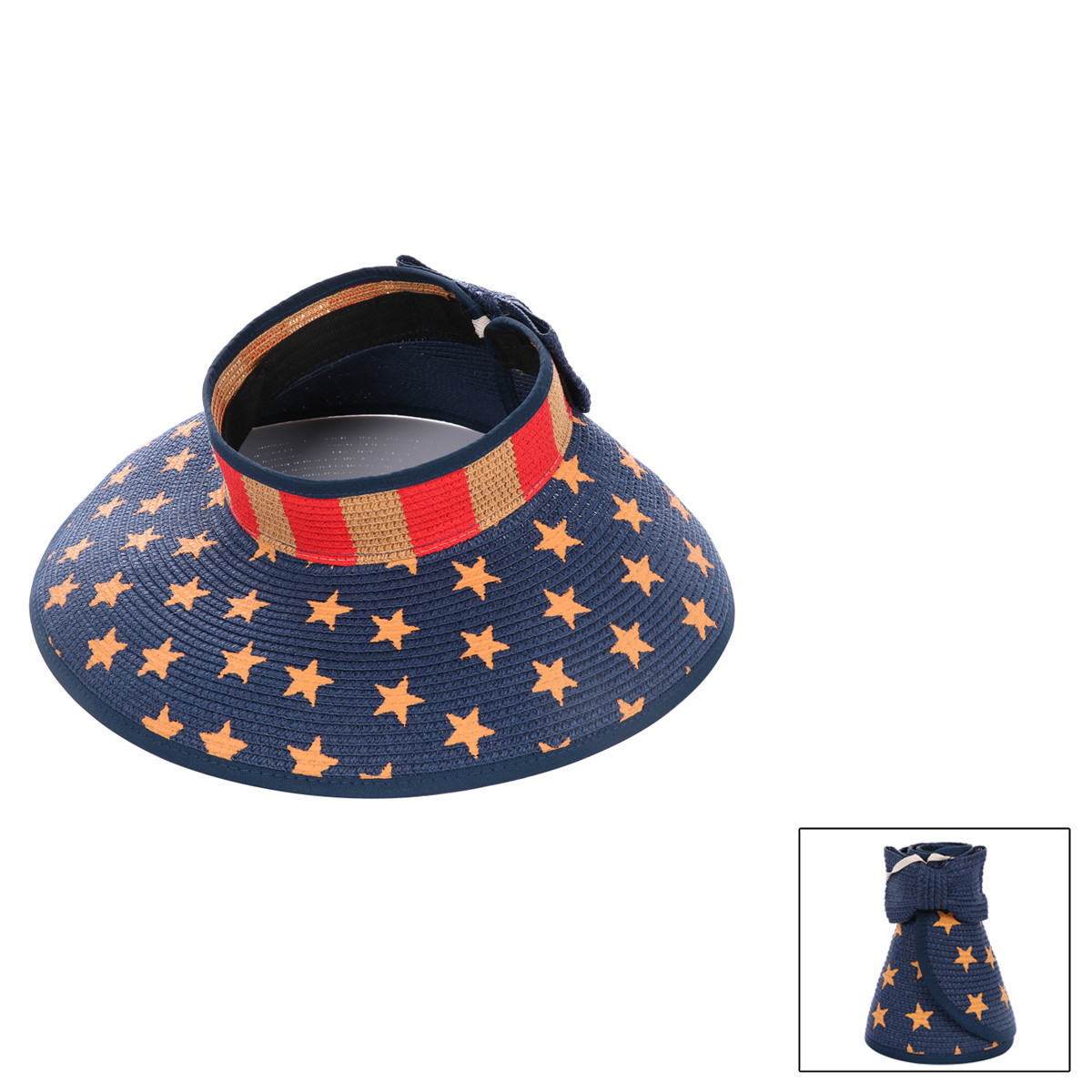 ce469acf3bb27b Packable Old Glory Straw Hat Visor with Bow | Whereboutiqueshop