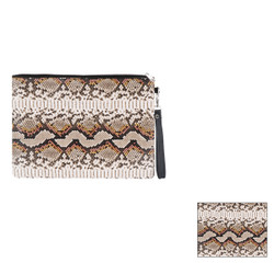 Large Makeup Bag Wristlet Envelope Snakeskin Textured