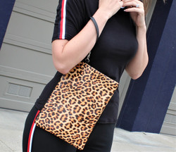 Large Makeup Bag Wristlet Envelope Leopard Print