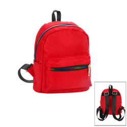 Small Backpack with Rainbow Zippers Red