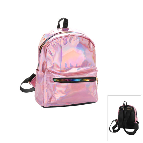 Small Glossy Metallic Backpack with Rainbow Zippers Pink