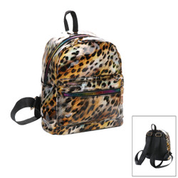 Small Glossy Metallic Backpack with Rainbow Zippers Leopard