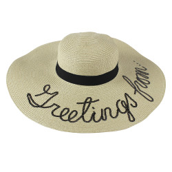 Sequined Large Floppy Straw Hat Greetings from Beige