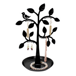 Bird on Tree Jewelry Stand Cut out Metal with Tray