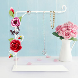 Bella Rosa Earring and Necklace Holder with Tray Coral