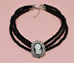 Victorian Cameo Choker Necklace 3 Strand Black Faux Pearl