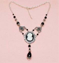Victorian Cameo Necklace Y-Shaped Black Beads
